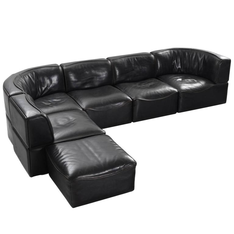 De Sede U0027DS 15u0027 Modular Sofa In Black Buffalo Leather ...