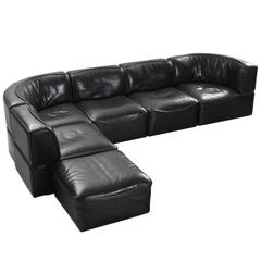 De Sede 'DS-15' Modular Sofa in Black Buffalo Leather