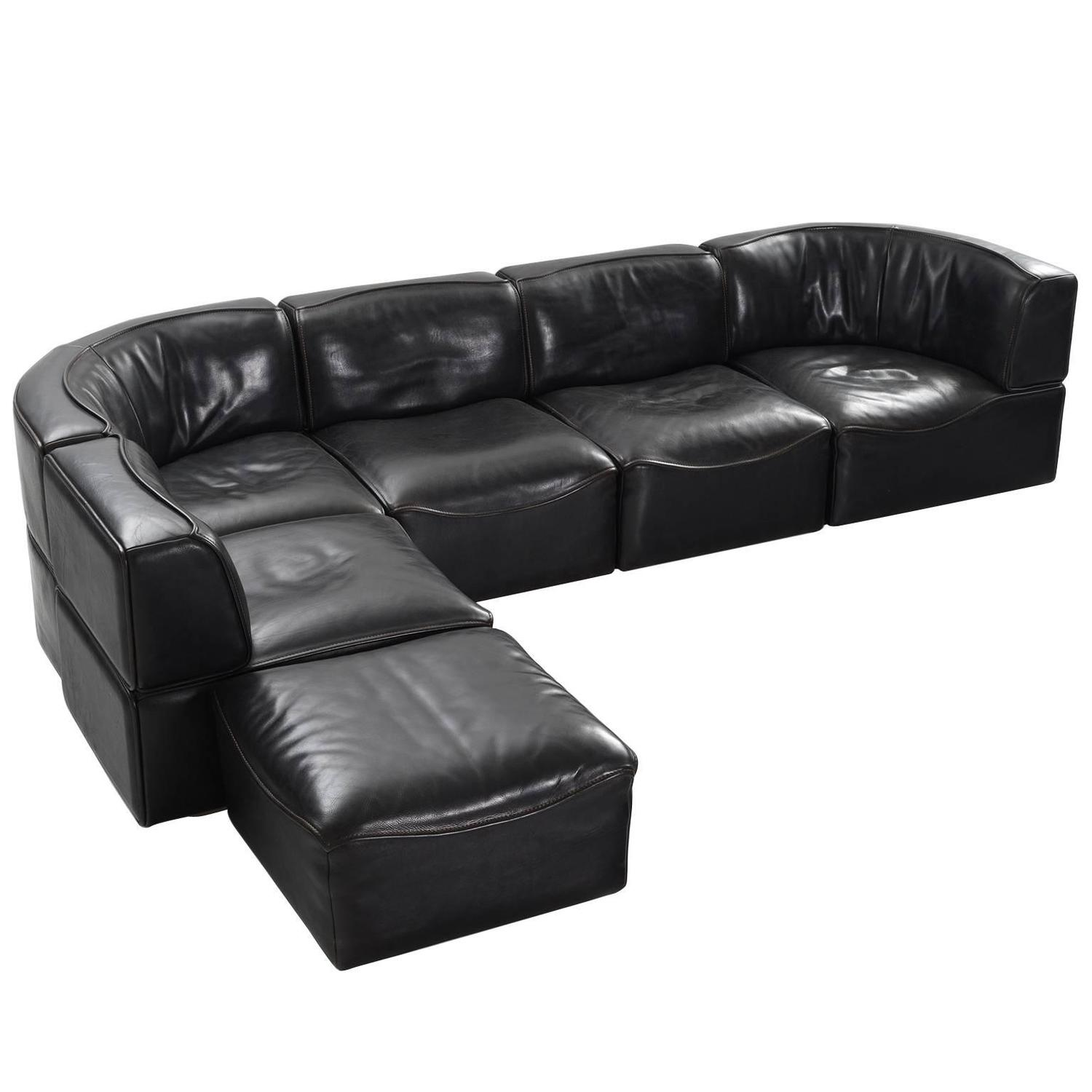 de sede 39 ds 15 39 modular sofa in black buffalo leather for sale at 1stdibs. Black Bedroom Furniture Sets. Home Design Ideas