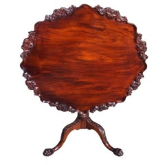 American Chippendale Mahogany Tilt-Top Hairy Paw Tea Table, R Walker VA C. 1750