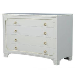 Concave Front Neoclassical Chest with White Marble Top