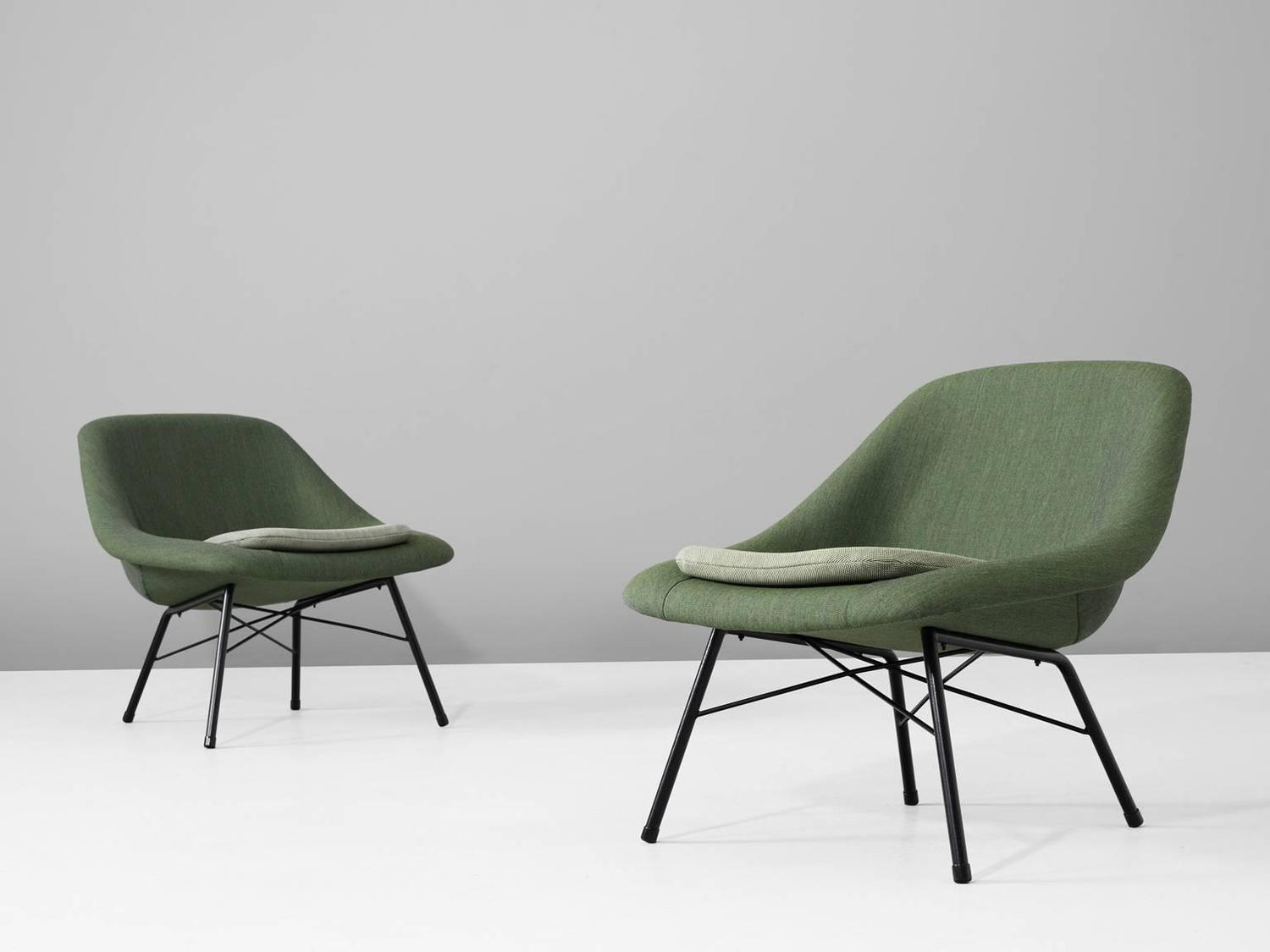 Pair of reupholstered mid century easy chairs for sale at for Reupholstered furniture for sale