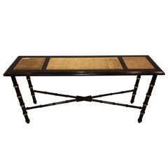 Ebonized Faux Bamboo And Gilt Gold Console Or Serving Table Manner of Jansen