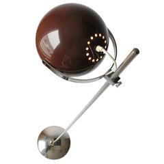 Reggiani Dark Brown Eyeball Floor Lamp, 1960s, Italia
