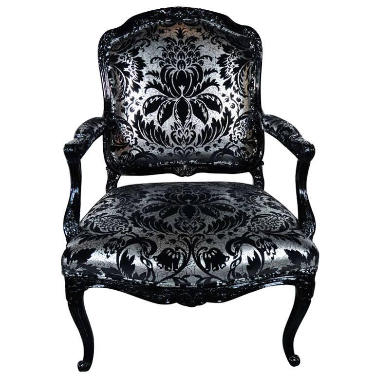 Hollywood Regency Bergere Chair in Embossed Velvet & Black Lacquer