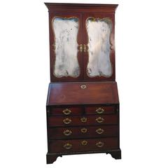 English George III Mirrored Mahogany Secretary Bookcase, circa 1770