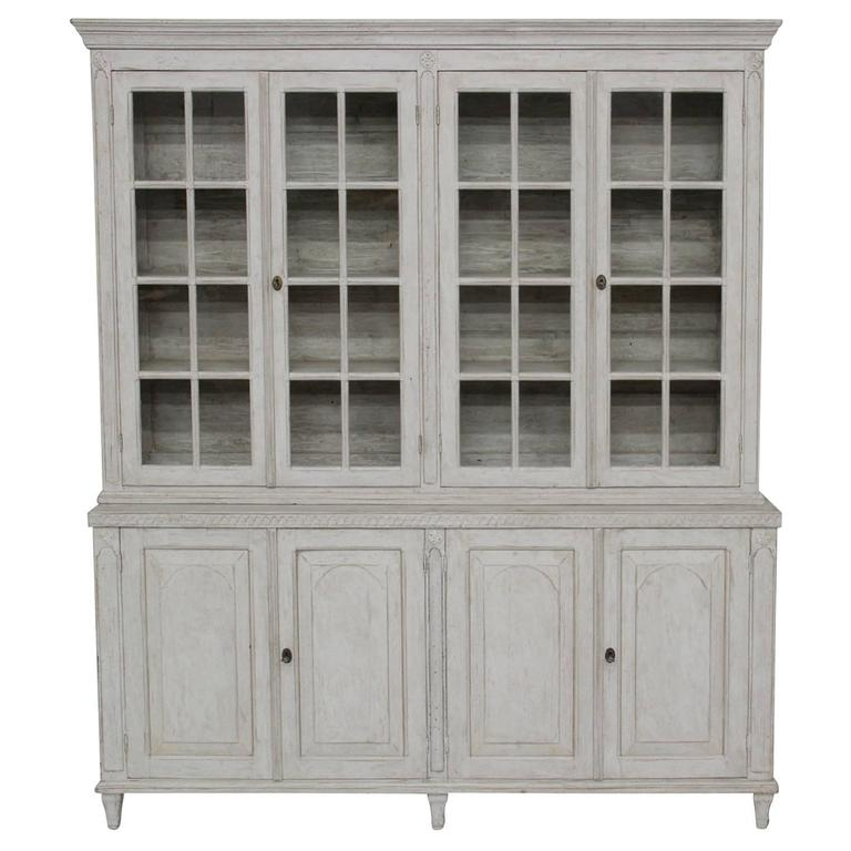 Swedish Late Gustavian Antique Four-Door Glass Vitrine Cabinet, 19th Century 1