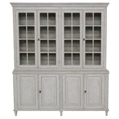 Swedish Late Gustavian Antique Four-Door Glass Vitrine Cabinet, 19th Century
