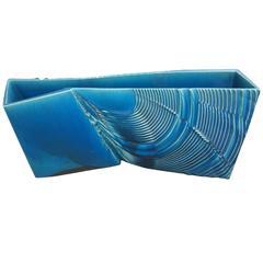 "Fine Hand  Glazed Japanese Blue Ceramic ""Waves"" Planter 24"" Mint,Signed,& Boxed"
