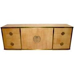 Sinopoli 1970s Italian Back Finished Asian Style Brass Bamboo Sideboard/Cabinet