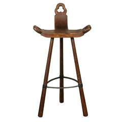 Carved Wooden and Iron Stool