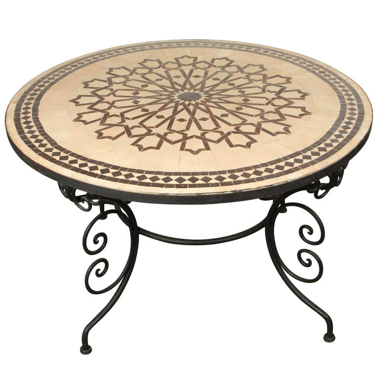 Moroccan Mosaic Round Tile Coffee Table On Iron Base For Sale At Stdibs - Moroccan outdoor coffee table