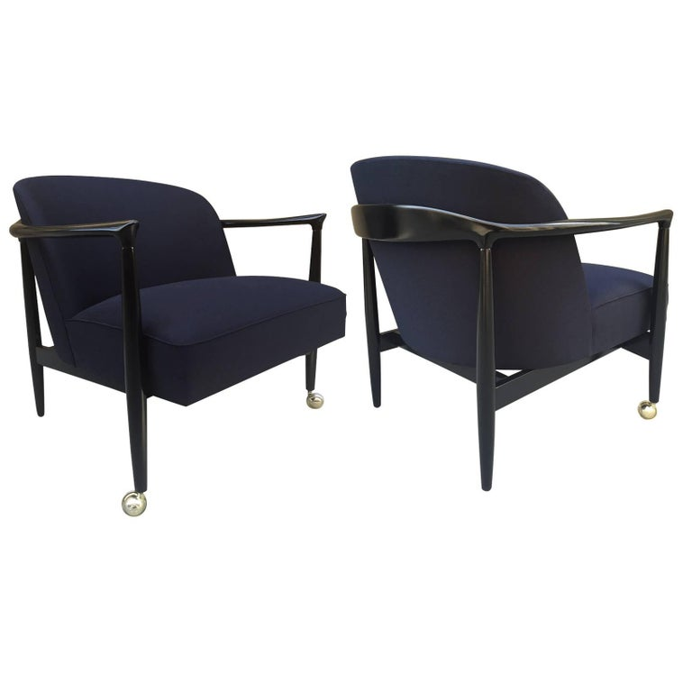 Pair of Sculptural Ib Kofod-Larsen Lounge Chairs For Sale