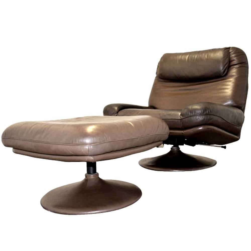 Vintage De Sede Lounge Swivel Armchair and Ottoman For Sale at 1stdibs