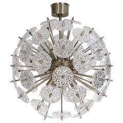Val St Lambert Faceted Glass Roundel Sputnik Chandelier