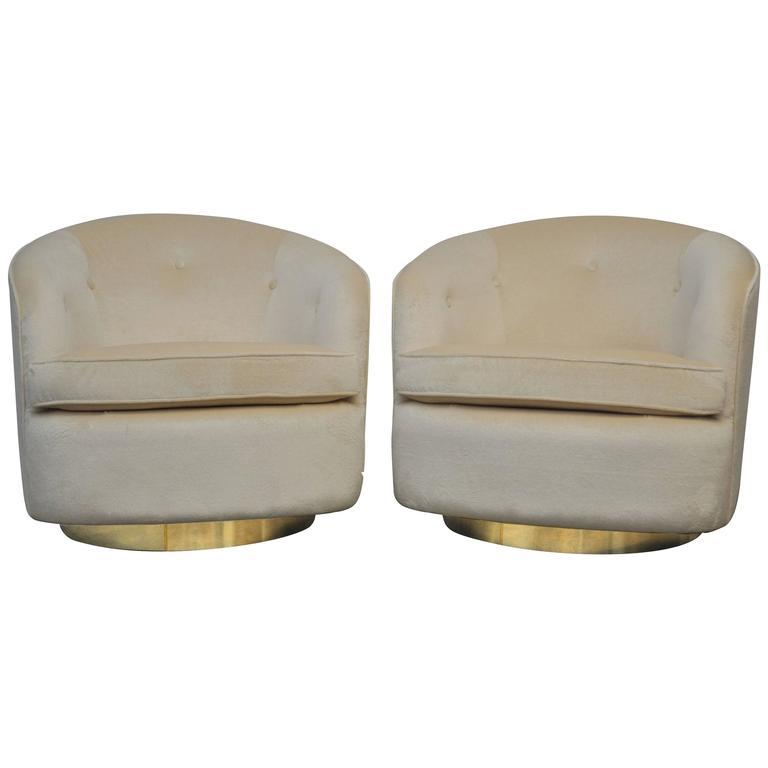 Milo Baughman Brass Base Swivel Chairs For Sale