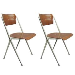 Two Dutch Mid-Century Modern Desk Chairs by Wim Rietveld