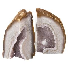 Pair of Exceptional Agate Stone Bookends with Crystal Amethyst Center