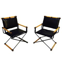 Pair of Cleo Baldon Wrought Iron Campaign Armchairs for Terra, circa 1965