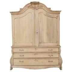 Dutch Louis XV Style Linen Press Cabinet in Bleached Oak, 19th Century Antique