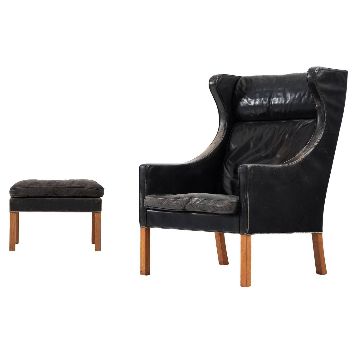 børge mogensen wingback chair and ottoman in black leather for sale