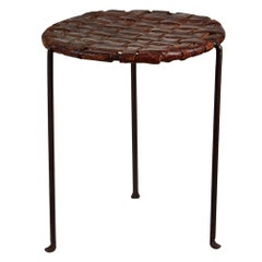 Iron and Woven Leather Stool by Lila Swift and Donald Monell