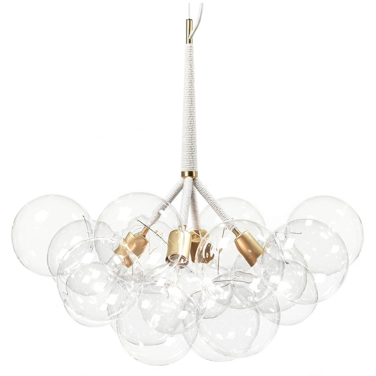X large bubble chandelier in natural cotton and satin brass by x large bubble chandelier in natural cotton and satin brass by pelle for sale at 1stdibs arubaitofo Choice Image