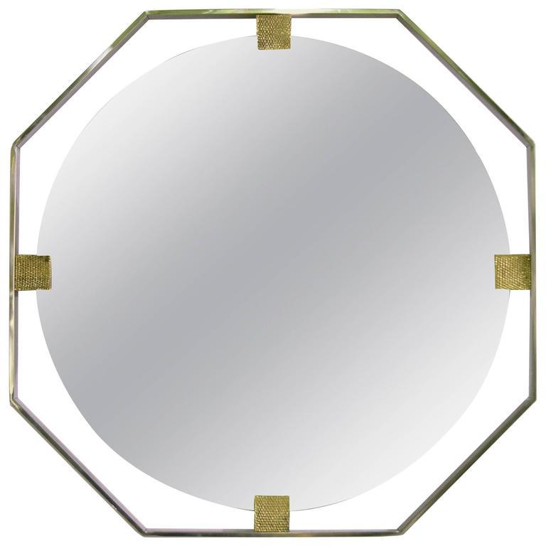 Italian Contemporary Minimalist Chromed Octagonal Mirror