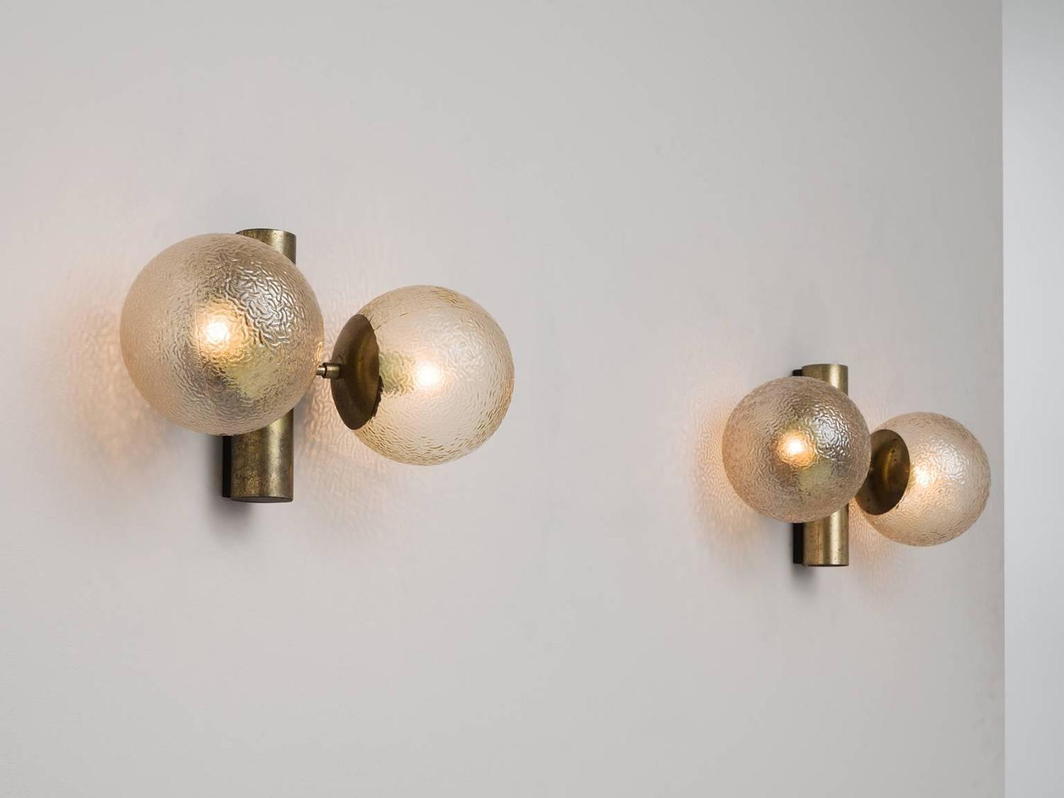 Set of 4 Brass Colored Wall Lights with Structured Glass For Sale at 1stdibs