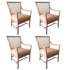 Prescott Bamboo Four Armchairs by McGuire