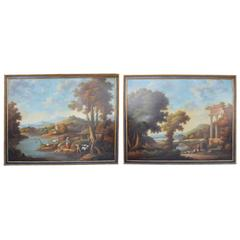 Pair of Large Italian 19th Century Landscape Oil Paintings