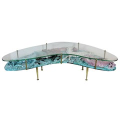 "Majolica Coffee Table by Otello Rosa ""Cinque Cavalli"" for San Polo, Italy, 1952"