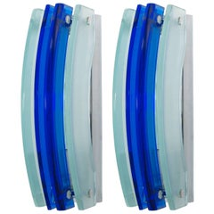 Pair of Italian Blue and Frost Beveled Glass Sconces in Style of Fontana Arte