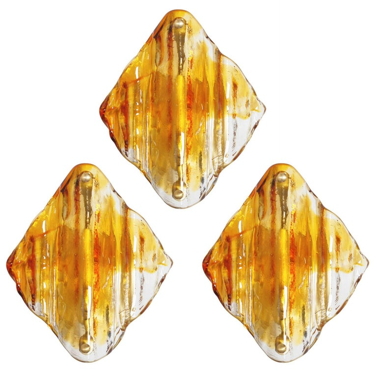 Italian Murano Amber Diamond Glass Sconces by Mazzega