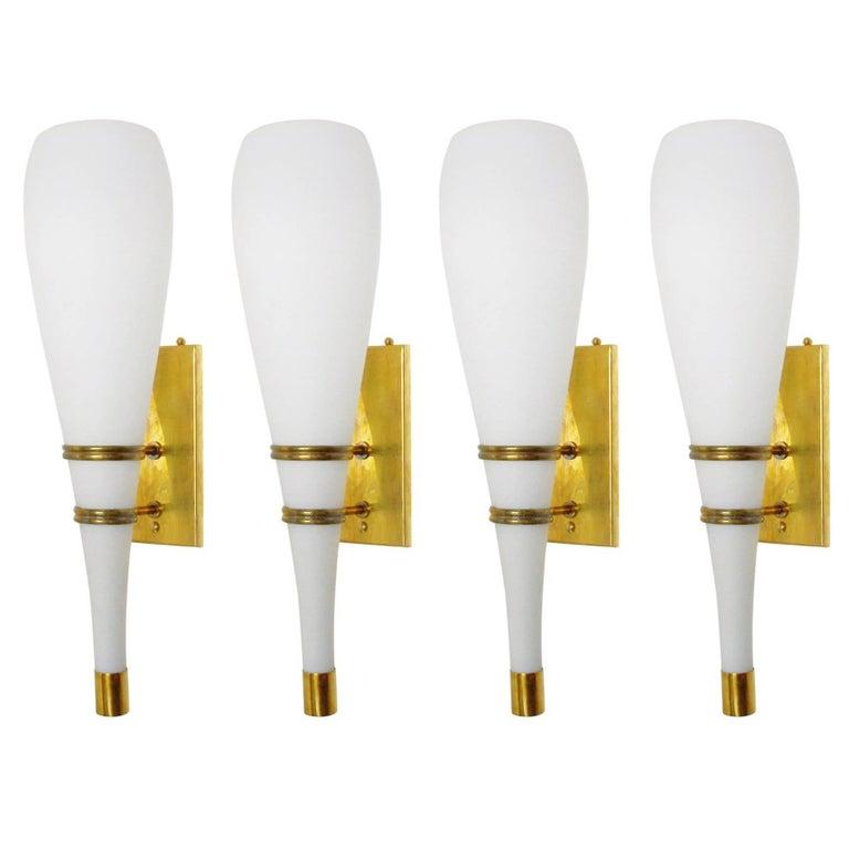 Set of 4 Italian Torch Sconces by Stilnovo