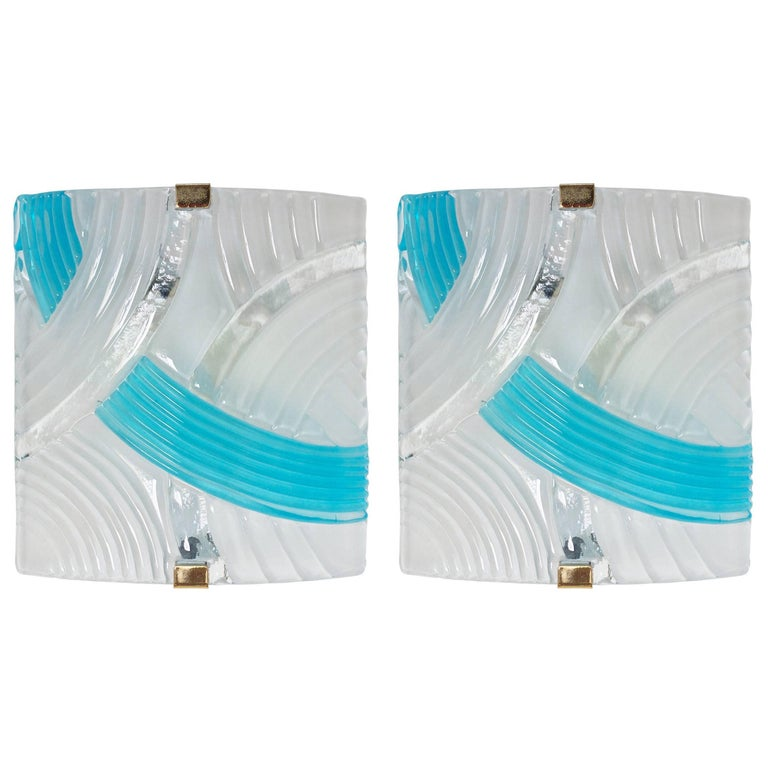 Pair of Murano Frosted and Aquamarine Glass Sconces or Flush Mounts