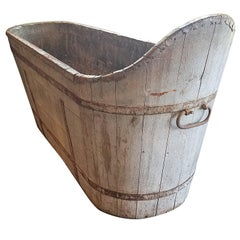 Antique French Wood Plank Tub with Metal Strap as Planter