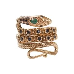 Sapphire, Emerald and Gold Snake Ring