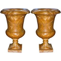 Italian 1940s Antique Big Urns /Plant Holders in Yellow Siena Marble