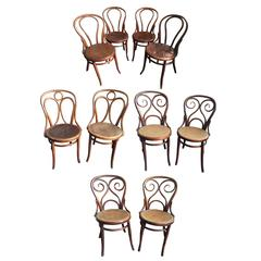 Set of Ten Turn-of-the-Century Bentwood Dining Chairs by Thonet