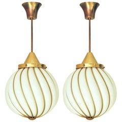 Italian Murano White Glass Globe Pendants