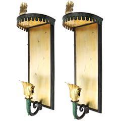 Scandinavian Modern Swedish Art Deco Brass Sconces with Patinated Canopy