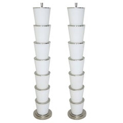 Italian Frosted Murano Glass Floor Lamps