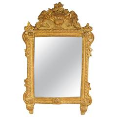 French Louis XVI Richly Carved Gilt Mirror for Vanity or Wall, 18th Century