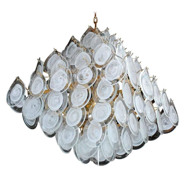 Italian Murano Glass Pyramid Chandelier by Vistosi