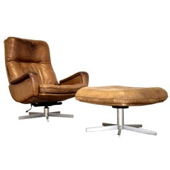 Vintage De Sede S 231 James Bond Swivel Lounge Armchair with Ottoman, 1960s