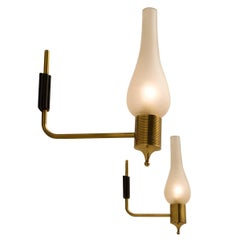 Maison Arlus Set of Two Brass and Frosted Glass Wall Lights