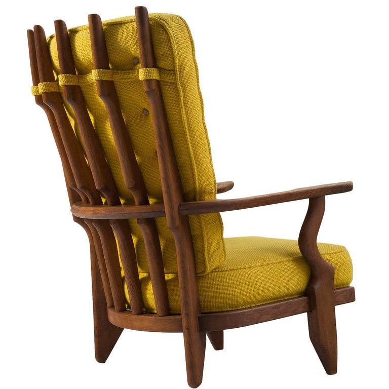 Guillerme & Chambron High Back Chair in Yellow Fabric Upholstery