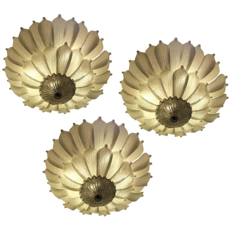 Three Large Murano Ceiling Lights, 1990s For Sale