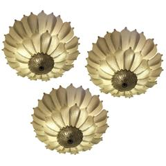 Three Large Murano Ceiling Lights, 1990s